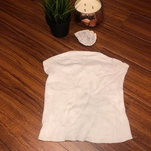 ✨2/$20✨ AEO STRAPLESS OFF WHITE RIBBED CROP TOP ✨